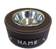 Personalised Faux Leather Pet Bowl - Brown