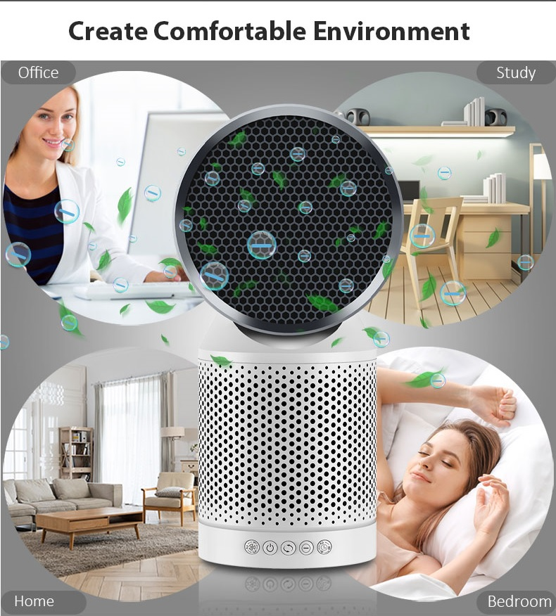 Activated Carbon Hepa Filter Negative Ion Rotating Air Purifier ATLS7