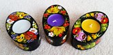 Decorative Hand Painted Candle Holders - Oval