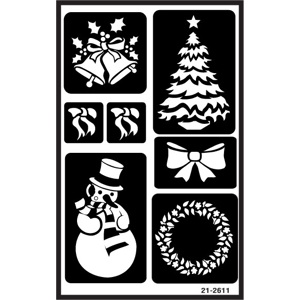 Over N Re Usable Glass Etching Stencil CHRISTMAS