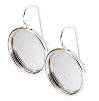Earring Large Circle Sterling Silver - Pair