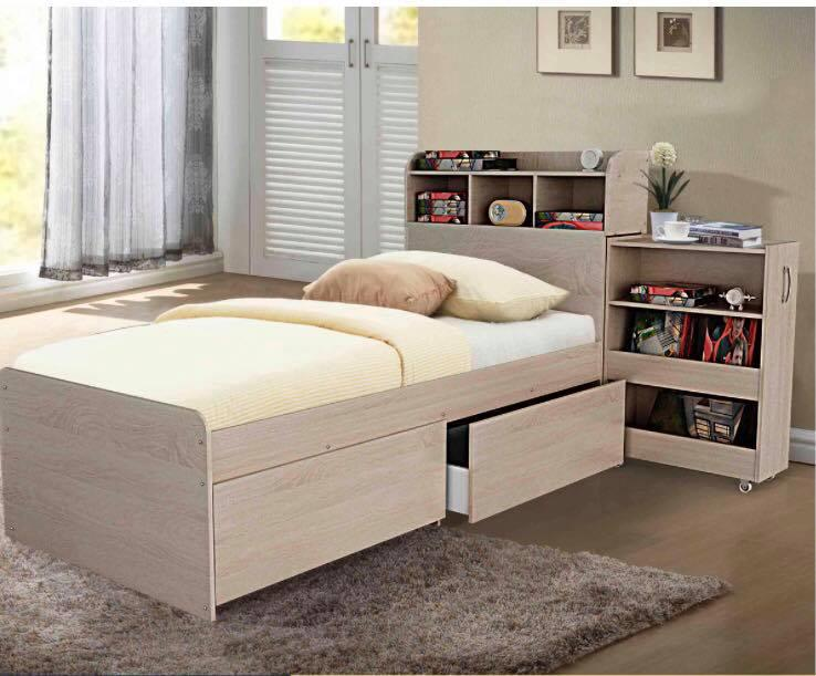 King Single Bed With Storage Drawers And Pullout Cabinet