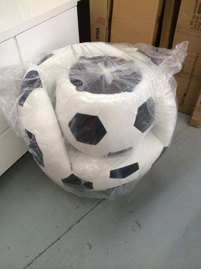 Superbe Soccer Ball Arm Chair With Ottoman With Swivel
