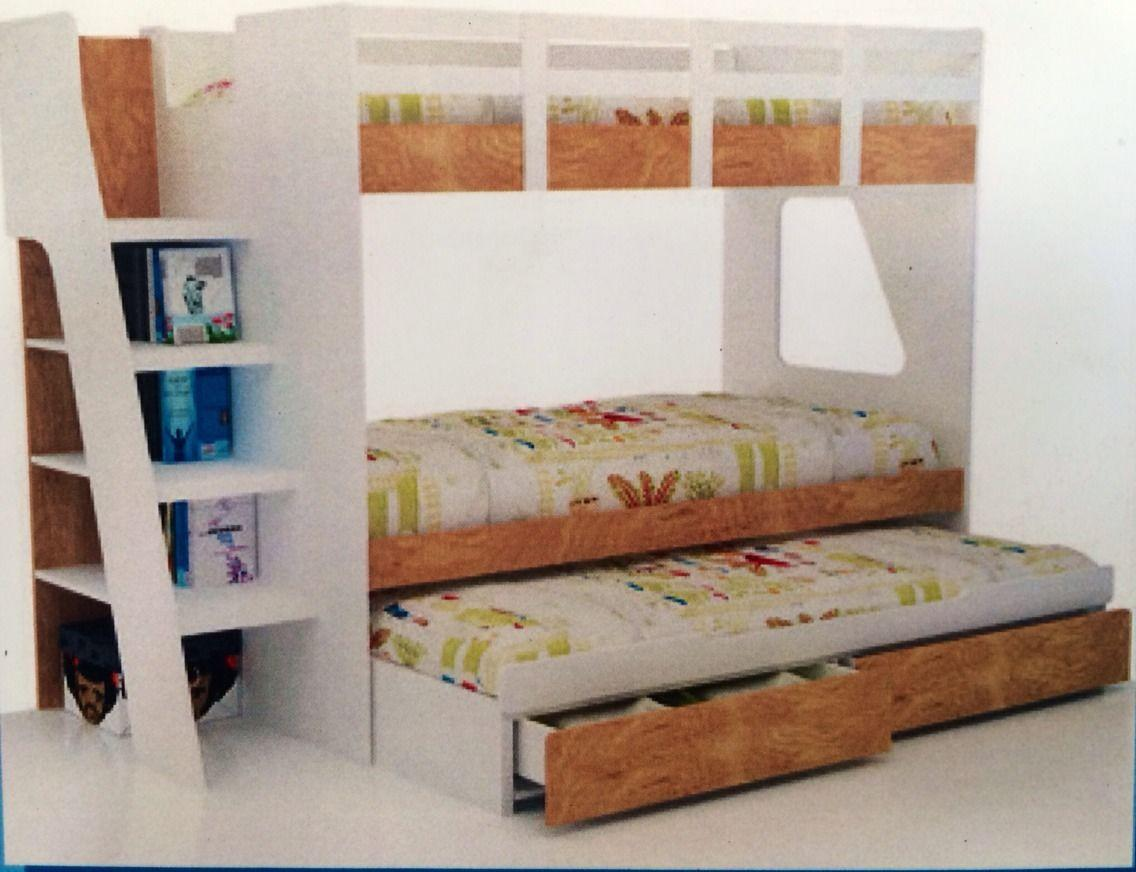 Bunk bed single with trundle and drawers new in box new for New bed designs images