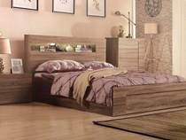 Queen bed only with gas lift with foot end drawer in mocha oak NEW