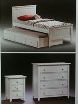single bed and trundle with 1 x tallboy 1 x bedside + 2 x matts