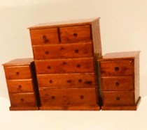Tallboy 5 drawer with 2 x 3 drawer bedsides pine NEW