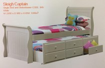 Trundle Slay Bed single white with Drawers NEW