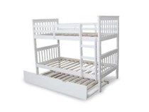 Bunk bed single SOLID with trundle White Or Walnut Or Two Tone NEW