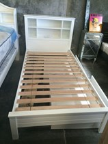 single bed with head storage white timber slats NEW