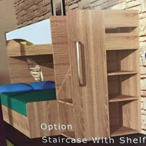Double single bunk with staircase and shelf NEW DESIGN